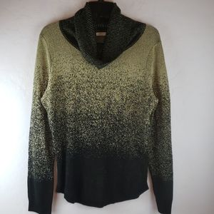 NOTATIONS PETITE Black and Gold Sparkle Sweater